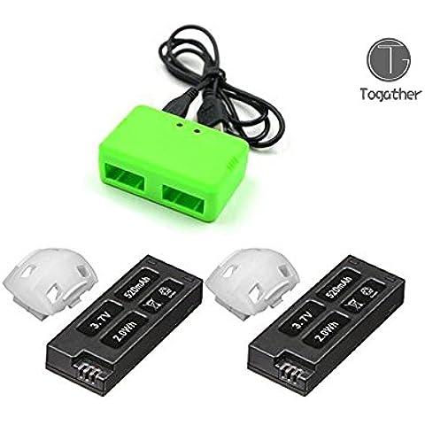 ogather® 2pcs 520mAh Batería y 1pcs verde 2-en-1 USB cargador de batería para HUBSAN X4 H107D + H107D Plus FPV QuadCopter de piezas de