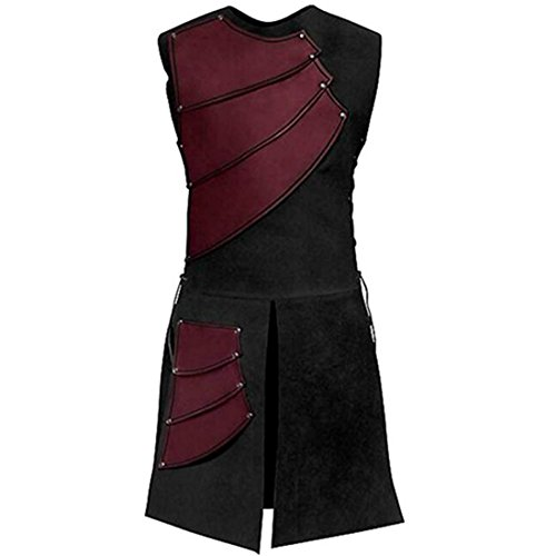 Partiss Herren Mittelalter Renaissance Sleeveless Lace up Weste Weste,L,Red