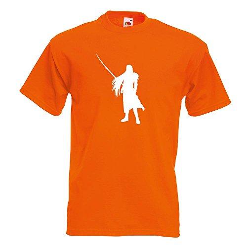 KIWISTAR - Videospielheld mit Schwert T-Shirt in 15 verschiedenen Farben - Herren Funshirt bedruckt Design Sprüche Spruch Motive Oberteil Baumwolle Print Größe S M L XL XXL Orange