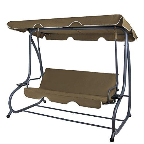 BB Sport 4-Sitzer Hollywoodschaukel klappbar mit Bettfunktion RAIVENNA mit Sonnendach und Liegefunktion für 4 Personen, Farbe:Bisonbraun