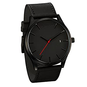 DOLDOA Sale Clearance for Men's Fashion Faux Leather Band Analog Quartz Round Wrist Business Watch with Calendar