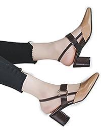 wysm Sandalias de Mujer Gruesas con Zapatos de Baotou Retro Coreanos Salvajes de Punta Media