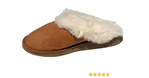 chaussons hommes camel fourr/és peau de mouton tannage naturel