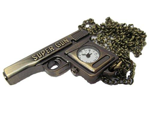 Bronze Vintage Antik Stil Gun Revolver Pistole Design Mini Quarz römischen Ziffern Uhr Taschenuhr Kette Anhänger Free UK P & P Geschenk Idee von Fat-catz