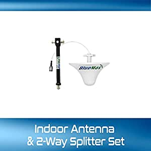 Spiritronyx® BlueMax 2-Way Splitter + Additional Indoor Antenna set for Mobile Signal Repeater, Booster, 1 Input - 2 Outputs. Wideband 2-way antenna splitter with N type female sockets, Indoor Antenna with 5 M cable, Splitter with 1M cable and N type male connectors. ( This is a combo of additional accessories for BlueMax Signal Booster Kit, not the complete kit)