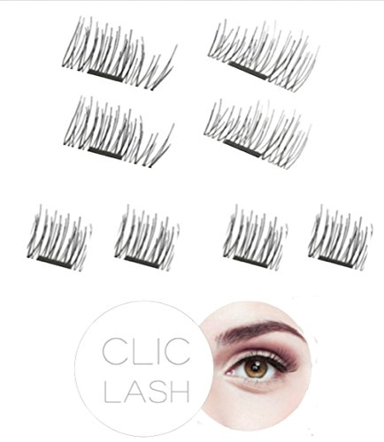 Magnetische Wimpern CLIC LASH (Glamour Look/Long Lashes) - Magneten Wimpern 3D künstliche Wimpern ohne Kleber (magnetic eyelashes Magnet-Wimpern Magnet (Tutorial Make Up Glamour)