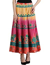 2570e1343e9b4 Exotic India Women s Printed Elephants and Embroidered Cotton Long Skirt  (SEK06