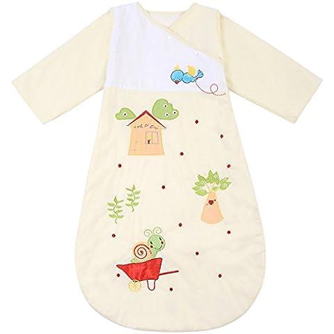 Happy Cherry - Saco de Bebés Niños de Dormir Larga Manga Manta de Acolchado Algodón - Caracol Amarillo/Becerro Azul/Gato Azul - 6 meses-2 años / 1-5 años / 3-6