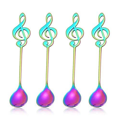 MARSIGNAL Nettes musikalisches Kaffeelöffel-Set, Edelstahl-Teelöffel-Set Regenbogenfarbener Esstisch Rührlöffel-Set Suppe Zucker Dessert Vorspeise Gewürz Bistro-Löffel,Rainbow Color - Subtilen Glanz-finish