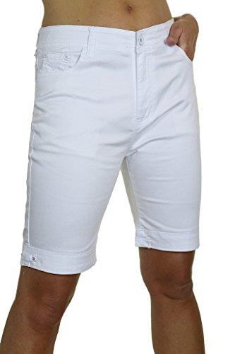 ICE (1515-1) Plus Size Stretch Jeans Stil Shorts Chino Sheen Weiß (50) (Denim Pocket Stitch Shorts)