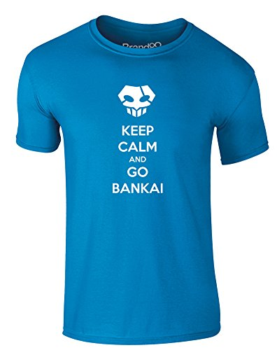 Brand88 - Keep Calm and Go Bankai, Erwachsene Gedrucktes T-Shirt Azurblau/Weiß