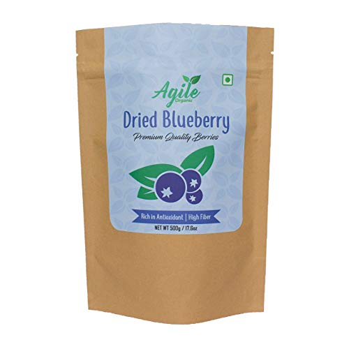 Agile Organic Whole Dried Blueberries 500g (Unsweetened, Naturally Sweet, Without Added Sugar)