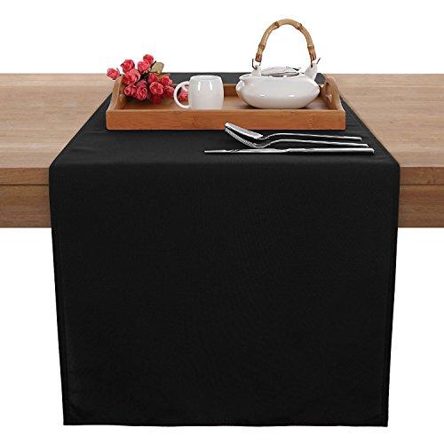 deconovo-chemin-de-table-decor-exterieur-impermeable-anti-tache-noir-tissu-uni-noir-45x150cm