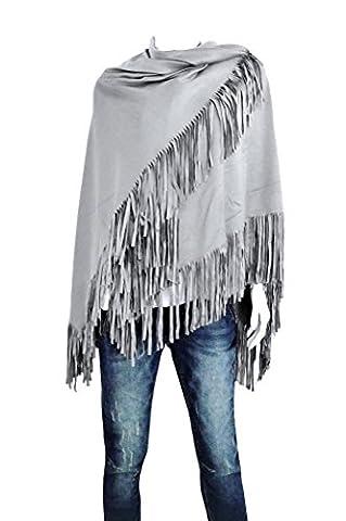 Damen Velourhaptik Cape Stola Wraps Plaid Schal Fransen unifarben (8135) (Grau) (Hippie Vintage-wrap)