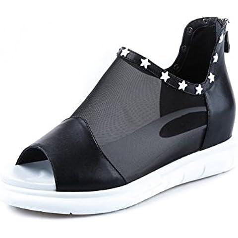 In pelle mesh sandali/Aumentato in scarpe con la suola spessa piattaforma/ romano pesce bocca scarpe