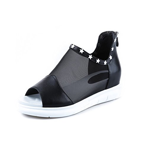 Mesh sandali/Aumentato in scarpe con la suola spessa piattaforma/ romano pesce bocca scarpe-A Lunghezza piede=21.8CM(8.6Inch)