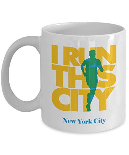 Make Your Mark Design I Run New York City Coffee & Tea Gift Mug, Souvenirs and Long Distance Marathon Running Themed Gifts for Men & Women Runners (New York City, Party Supplies)
