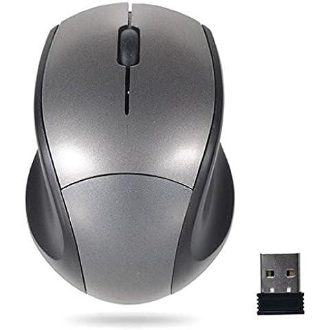Internet Receptor USB de 2.4GHz ratón óptico del ratón sin hilos sin cuerda del ordenador PC para el ordenador portátil (Gris)