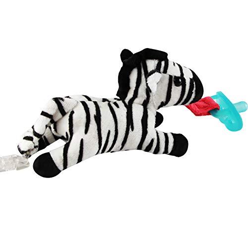 Zebra-Pacifier-Halter mit abnehmbarem Plüsch-gefülltem Tier Spielzeug und Rassel für Kleinkind ohne Brustwarze (schwarz und weiß) (Zebra-plüsch-spielzeug)