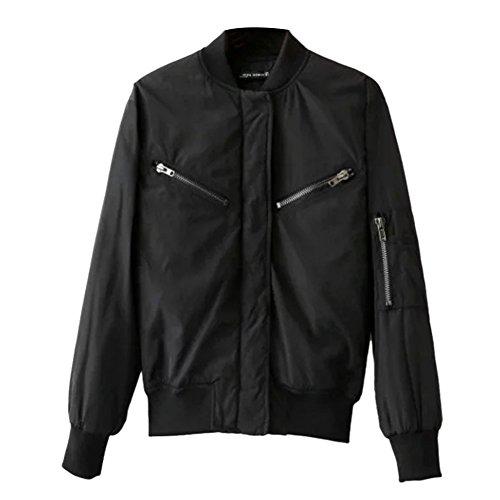 iPretty Herbst Jacke Damen Kurze Bomberjacke Spleiß Mantel Stehkragen Jacke College Jacke mit Reißverschluss Cardigan Outwear