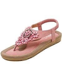 CLEARANCE SALE MEIbax damenmode süße sommer böhmen süß perlenbesetzten sandalen - clip die sandalen strandschuhe fischgräten - sandalen schuhe (39, Weiß)