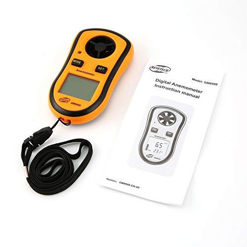 Preisvergleich Produktbild fengwen66 Benetech GM8908 Digitales Anemometer-Thermometer Windgeschwindigkeitsmesser Windmesser (Orange & Schwarz) -Null