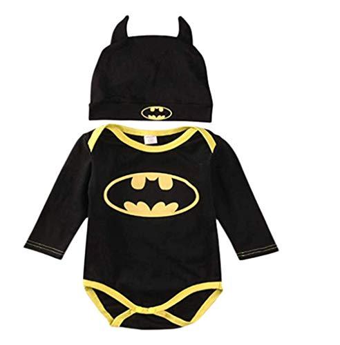 2019 heißer Baby Jungen Kurzarm Superman Strampler Hut Schuhe und Socken dreiteilige Kleidung Set (Lange Ärmel, 6-12 Monate) ()