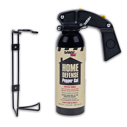 SABRE Red Pepper Gel - Police Strength - Family Home Property Defense Gel with Wall Mount Bracket