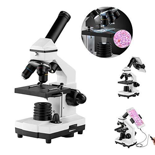 XDDWD Monokulare Mikroskop für Studenten und Kinder, 200-2000x Vergrößerung Leistungsstarke biologischer Lern   Mikroskope mit chirurgischen Geräten (10p), Folien-Set (15p) -