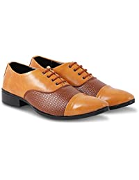 Denill Designer Men's Formal & Party Wear Tan Synthetic Leather Shoes