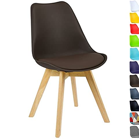 WOLTU® BH29br-1 1 x Dining Chair Retro Kitchen Chair Made of PP and Solid Wood, Brown