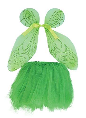 2Fee Flügel und Tutu Set, grün, One Size (Tinkerbell Halloween-kostüm)