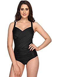 Nidhi Munim Black Cross Rouching Swimsuit for Women