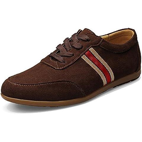 SONGYUNYAN Tempo libero all'aperto inglese Suede moda traspirante Sneaker barca scarpa , deep brown , 39