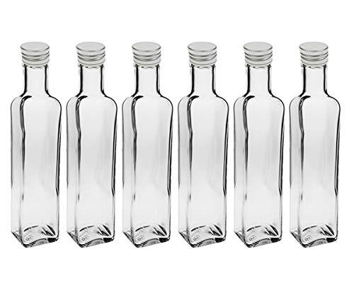 """24 leere Glasflaschen""""Mara"""" 500ml incl. Schraubverschluss Silber Saftflasche Likörflaschen Schnapsflaschen Ölflaschen Flaschen Wasserflasche aus Glas zum selbst befüllen"""