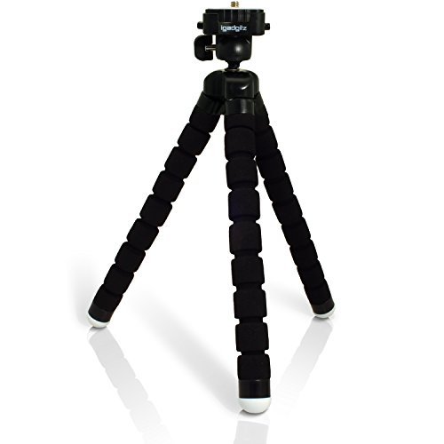 igadgitz Negro Ligera Grande Universal Flexibles Mini Trípode Portátil con Placa de extracción rápida para Sony FDR-AX100EB, CX240E, HDR-CX405, HDR-PJ620, HDR-PJ410, HDRPJ810 Full HD Videocámaras