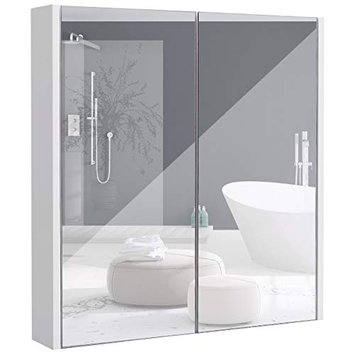 #COSTWAY Spiegelschrank Badezimmer, Badezimmerspiegel mit verstellbaren Ablagen, Badezimmerspiegelschrank weiß, Wandschrank mit Spiegel, Hängeschrank 62x11x65cm#