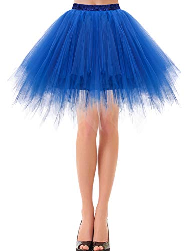 Kostüm Royal Ballett - bbonlinedress Kurz Retro Petticoat Rock Ballett Blase 50er Tutu Unterrock Royal Blue S
