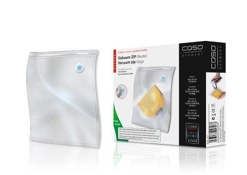 Caso Zip-Beutel, 20 Stück für Caso Geräte mit speziellen Vakkum-Adapter, Kochfest, Mikrowellen und Sous Vide geeignet, 26x23 cm