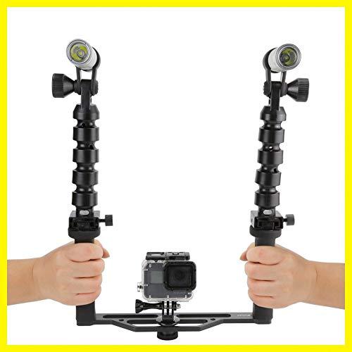 Schwarz Durable Tauchen Zwei Griff Hand Stabilizer mit Taschenlampen für GoPro Slr-dome-port