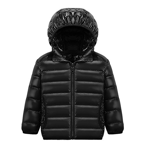 [Kinder Urtraleicht Steppjacke mit Kapuze] Kinder Daunenjacke Leicht Übergangsjacke Herbst Winter Jacket Wintermantel Mantel Parka Outerwear Schwarz140