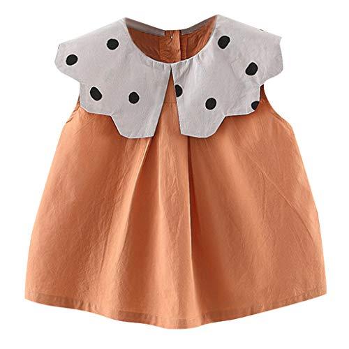 Alwayswin Baby Mädchen Ärmellos Babykleidung Mode Kleid Strand Rock Spitze Puppe Kragen Kleid Leinenkleid Süß Freizeit Kleidung Studentenkleidung Tägliche Kleidung (6M-3Y)