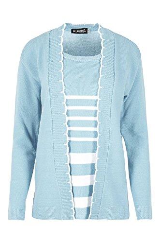 femmes tricoté vêtements en tricot complet manches Bout Ouvert Pull bouffant Double RAYURES HIVER CHAUD fête cardigan haut Bleu