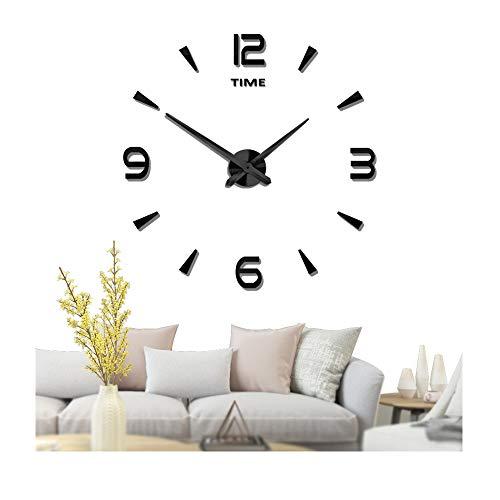 Mintime orologio da parete grande 3d diy frameless mute specchio adesivi home office scuola decorazione (anni di garanzia) (nero-73)