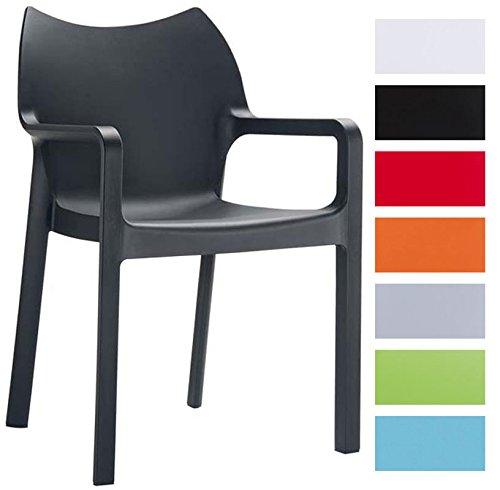 CLP Gartenstuhl, Küchenstuhl, Stapel-Stuhl DIVA mit Armlehnen, Kunststoff-Stuhl XXL 160 kg max. Belastbarkeit Schwarz