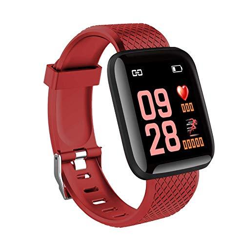 Fitness-Tracker wasserdicht Gürtel Herzfrequenz Blutdruck-Schlaf-Monitor Schrittzähler Smart Watch für Kinder, Frauen und Männer-red - Red Gold Watch