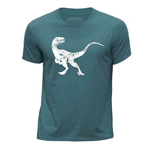 stuff4-garcons-12-14-ans-152-164cm-ocean-vert-col-rond-t-shirt-dinosaure-velociraptor