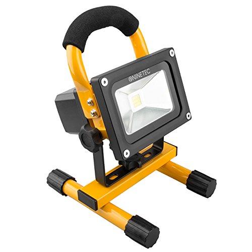 NINETEC 10W LED Projecteur Floodlight Projecteur Extérieur Sans Fil Lumière de Construction Portable Jaune