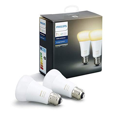 Philips Hue White Ambiance - Pack de 2 bombillas LED E27, 9W, iluminac
