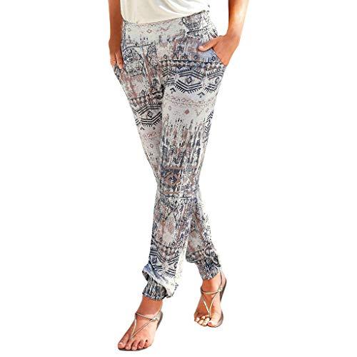 Clacce Damen Sommerhose | All-Over-Print Haremhose | Schlabberhose aus 75% Baumwolle | Luftige Urlaubshose mit Taschen | Leichte Sommer Hose | Weite Chillerhose mit und ohne Bündchen